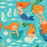 Funny color seamless pattern with mermaids Stock Image