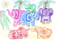 Funny colored baby elephants, drawing Stock Photo