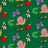 Funny Colored Doodle Insects on Green Background. Seamless Pattern. Stock Image