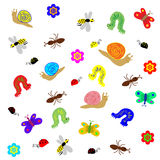 Funny Colored Doodle Insects isolated on White Stock Photos