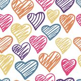 Funny colored hearts seamless pattern. 14 february wallpaper royalty free stock images