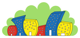 Funny colored houses. Vector illustration of funny colored houses Stock Image