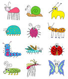 Funny Colored Insects Bugs Set Royalty Free Stock Photos