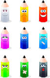 Funny colored pencils Royalty Free Stock Images