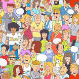 Funny Colorful Background. Group of Funny Hand-Drawn Doodle People Royalty Free Stock Photography