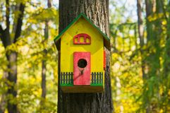 Funny colorful birdhouse Stock Image