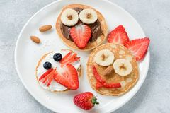 Funny colorful breakfast pancakes with animal faces for kids. On white plate. Top view royalty free stock photo