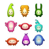Funny colorful cartoon aliens set. Stock Photos