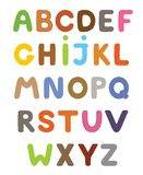 Funny colorful cartoon alphabet. Alphabetical letters ABC for children. Set of vector isolated letters Stock Image