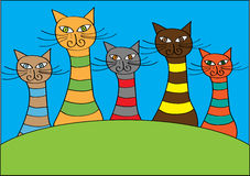 Funny colorful cartoon cats and Royalty Free Stock Photos