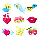 Funny colorful cartoon colorful glossy smile mascot set vector Illustration on a white background Royalty Free Stock Images