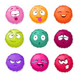 Funny colorful cartoon fluffy ball vector fuzzy characters set. Monsters with different emotion. Cute monster character, illustration of color fuzzy creature vector illustration