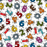 Funny colorful cartoon numbers seamless pattern. Happy cartoon numbers characters seamless pattern of smiling colorful digits with waving hands, randomly Stock Photo