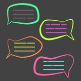Funny colorful cartoon speech bubble. Cute outline fish bubbles for your text Stock Photos