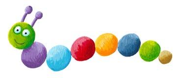 Funny colorful caterpillar. Acrylic illustration of funny colorful caterpillar Stock Photography