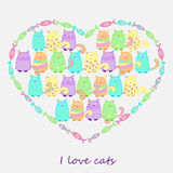 Funny colorful cats with fish. Funny cats with fish. Colorful background for kids. Heart shape illustration. Vector Royalty Free Stock Photos