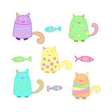 Funny colorful cats with fish. Funny cats with fish. Colorful background for kids. Vector Stock Images