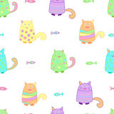 Funny colorful cats with fish. Funny cats with fish seamless pattern. Colorful background for kids. Vector Royalty Free Stock Photo