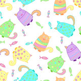 Funny colorful cats with fish. Funny cats with fish seamless pattern. Colorful background for kids. Vector Royalty Free Stock Image
