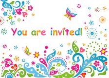 Funny colorful childish invitation Royalty Free Stock Photos