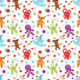 Funny colorful children's seamless pattern. Vector. Illustration for kid design. Bright colors. Endless texture can be used for printing onto fabric, web page Royalty Free Stock Images