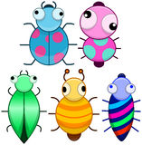 Funny Colorful Cute Little Bugs Royalty Free Stock Images