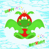 Funny colorful Dragon. Greeting card with birthday. T-shirt design for kids. The design of baby clothes vector illustration. Stock Photos