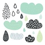 Funny colorful drops of rain clouds. Vector autumn nature banner Kids fall background Autumn doodles card Season of the rain, illustration, cute color doodle vector illustration