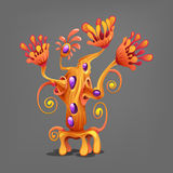 Funny colorful fantasy alien plants. Royalty Free Stock Photography