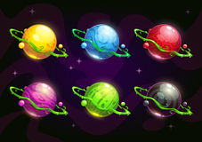 Funny colorful fantasy planets set Royalty Free Stock Image