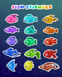 Funny colorful fish stickers Stock Photos
