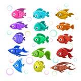Funny colorful fishes. Aquarium flat icons set Stock Photography