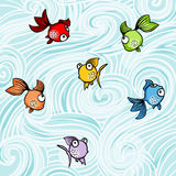 Funny colorful fishes background Stock Image