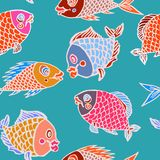 Funny colorful fishes, white outline. Hand drawn doodle, sketch in naïve, pop art style, seamless pattern design on turquoise background Stock Images