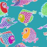 Funny colorful fishes, white outline. Hand drawn doodle, sketch in naïve, pop art style, seamless pattern design on turquoise background Royalty Free Stock Photo