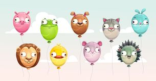 Funny colorful flying balloons with crazy animal faces.