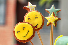Funny and colorful gingerbread shapes on sticks Stock Photography