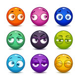 Funny colorful glossy balls with eyes. Royalty Free Stock Photography