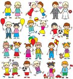Funny Colorful Sketch Image. Set of Playing Kids Stock Photography