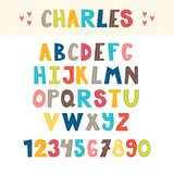 Funny colorful hand drawn English alphabet. Cute letters and numbers. Font. Vector Royalty Free Stock Photo