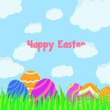 Funny and Colorful Happy Easter greeting card with illustration of eggs, clouds, grass and text royalty free illustration