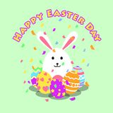 Funny and Colorful Happy Easter greeting card and party with rabbit, bunny illustration,eggs, confetti party and text vector illustration