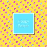 Funny and Colorful Happy Easter greeting card with rabbit, bunny illustration,eggs, banner,flag and text stock illustration