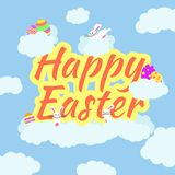 Funny and Colorful Happy Easter greeting card with rabbit, bunny illustration,eggs, cloud, and text. can use for easter day banner stock illustration