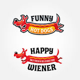 Funny colorful hotdog logo template Royalty Free Stock Photo
