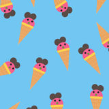 Funny colorful ice creams pattern vector Royalty Free Stock Photo