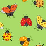 Funny colorful ladybugs. Seamless background of bright multi-colored ladybirds on a green background stock illustration