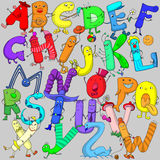 Funny colorful letters of the Latin alphabet. The Latin alphabet, funny set of letters Stock Photography
