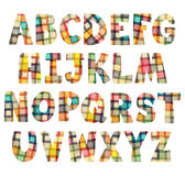 Funny colorful mosaic letters set. Colorful children alphabet isolated on white Stock Image