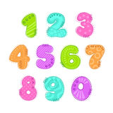 Funny colorful numbers patch set. On white background. Vector illustration Stock Photography